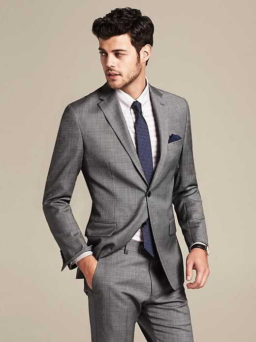 Tailored-Fit Grey Micro-Dot Wool Suit Jacket Product Image | MENS