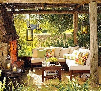 lampião sofá de canto lareira