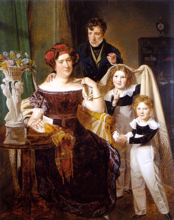 Ferdinand Georg Waldmüller (1793-1865) — Freiherr von Odkolek with his wife and two sons, 1826   (1240×1565)