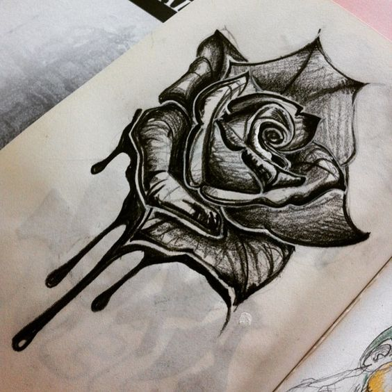 Pour changer de th me black rose draw drawing art - Rose noir dessin ...