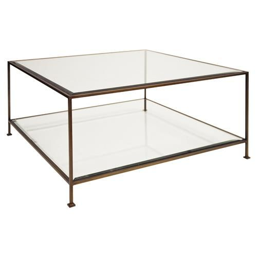 Cabot Hollywood Regency Bronze Glass Coffee Table Square Glass