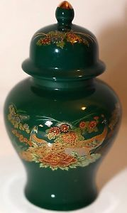 Antique Chinese Cloisonné Urn Green Gold Enamel Peacock Floral Nature Themed | eBay