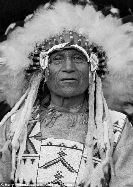 Savage Hunting Eagle, Nakoda Nation is photographed in traditional dress