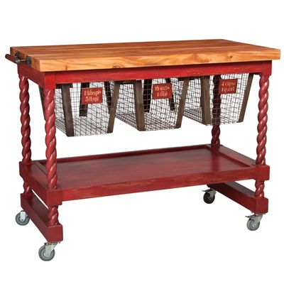 Diy Butcher Block Kitchen Cart : French Country Metal Basket Butcher Block. #kitchencart #butcher-block-kitchen-cart Diy small ...