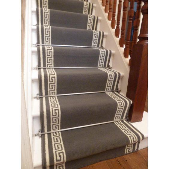 Best Stair Runners By The Foot Stair Runners › Modern Floral › Key Grey Stair Carpet Runner 400 x 300