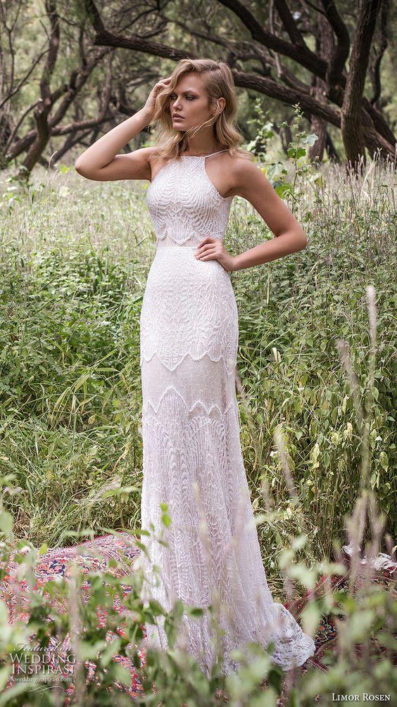 limor rosen 2017 bridal halter neck crop top full embellishment elegant glamorous lace skirt sheath wedding dress low back sweep train (galla) mv: