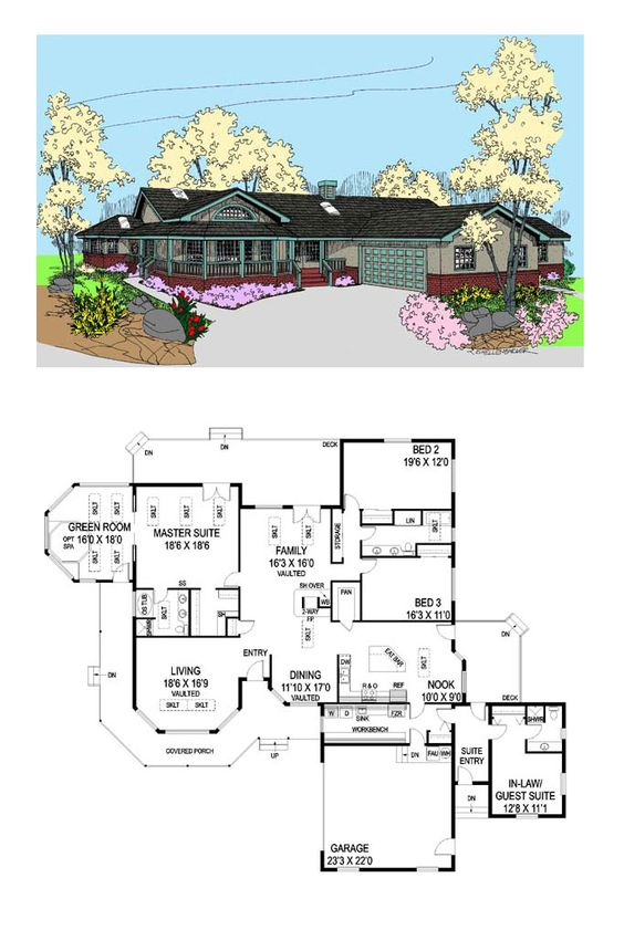 COOL House Plan ID: chp-32952   Total Living Area: 3036 sq. ft., 4 bedrooms and 3 bathrooms. #inlawsuite