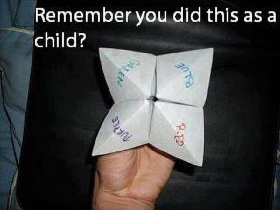 Yes I remember doing this. Though for the life of me I cannot remember how we folded the paper!
