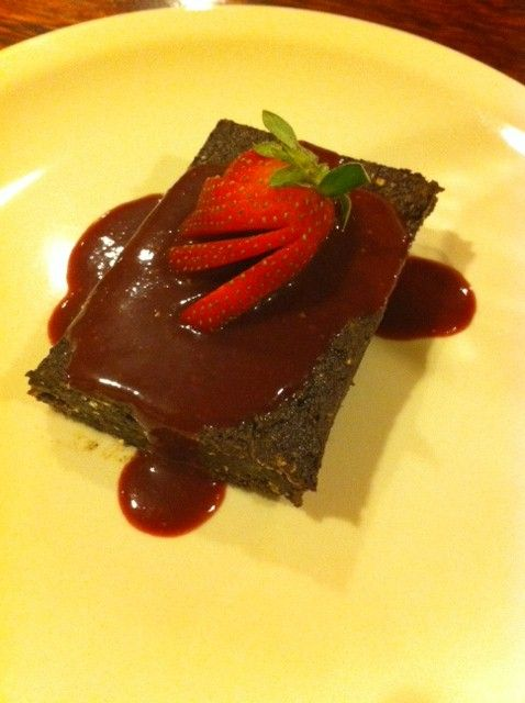 Raw Chocolate Brownies with Strawberry Acai Sauce | Yummy Plants