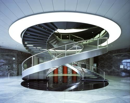 Double helix staircase at nestl hq in switzerland the for Architecture spiral staircase
