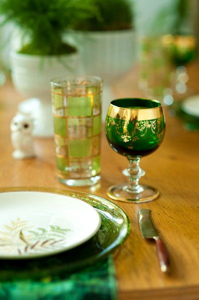 green moroccan glasses.