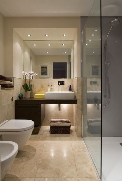 Madera oscura baldosa and duchas on pinterest - Reformar un bano pequeno ...