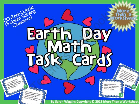 Earth Day Math Task Cards from More Than a Worksheet on TeachersNotebook.com (11 pages)  - Earth Day Math Task Cards...problem solving, critical thinking, math fun!