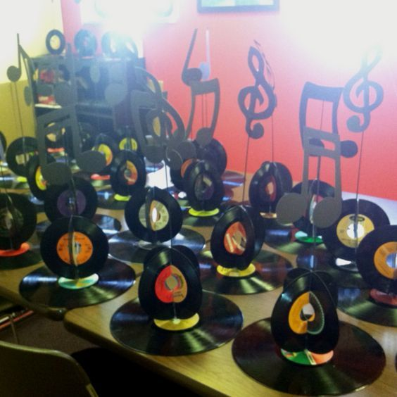 Fun record table decorations made by my mental health patients for their…: