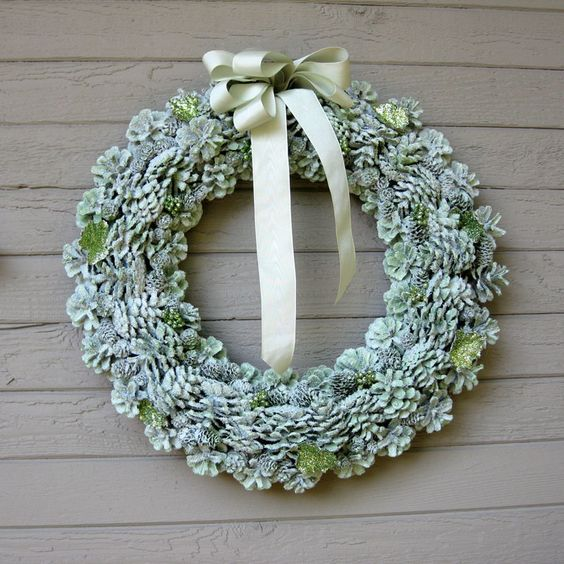 Gorgeous Glitter Pine Cone Wreath | AllFreeChristmasCrafts.com