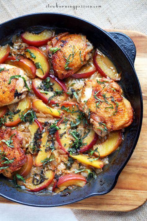 Mediterranean Style Chicken and Peaches: a healthy one skillet wonder.