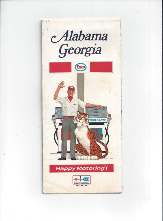 1969 Vintage Enco Travel Map Alabama and Georgia Good Condition – Tourist Attractions Map In Georgia
