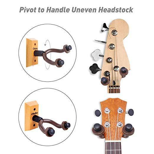Amazon Com Guitar Wall Mount Hanger 2 Pack Ohuhu Guitar Hanger Wall Hook Holder Stand For Bass Electric Acoustic Guitar Wall Guitar Hanger Guitar Wall Hanger