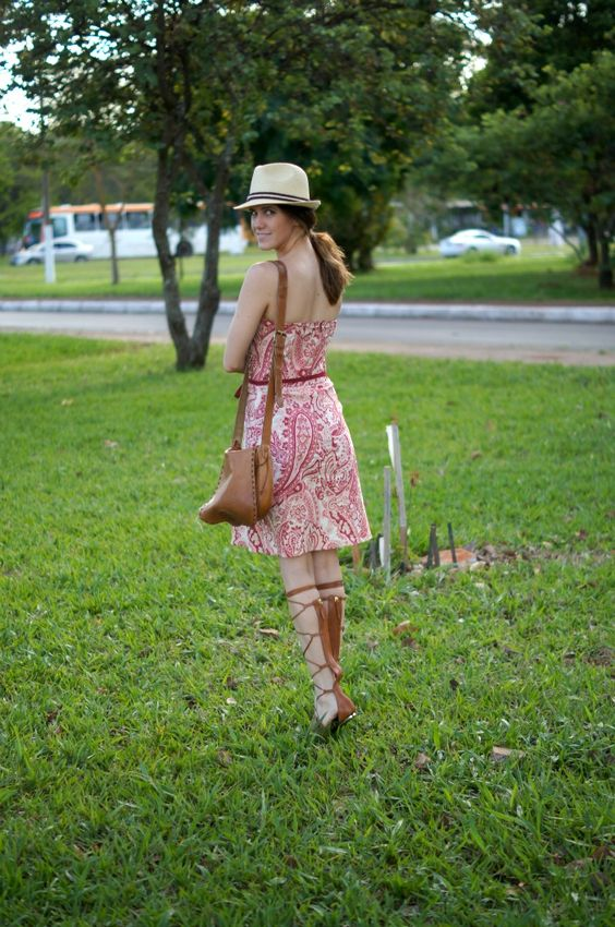 midi dress and gladiator sandals