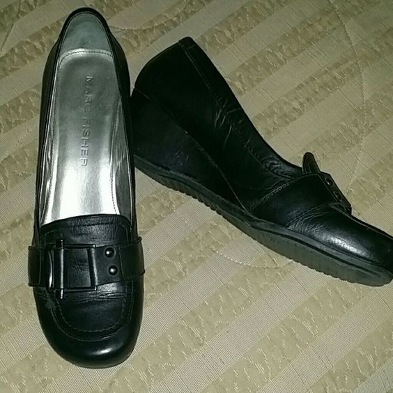 Dress/Work shoes Smooth black leather with a silver metal buckle, gently used Marc Fisher Shoes Wedges
