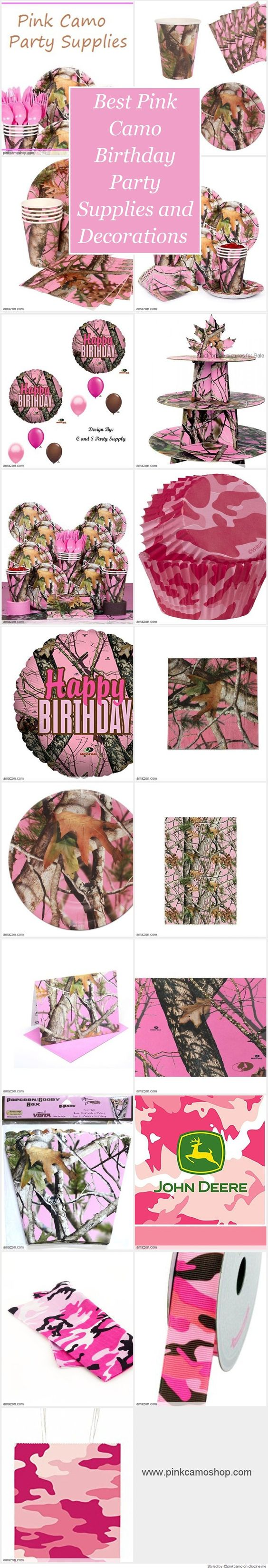 Best pink camo birthday party supplies and decorations for Pink camo decorations
