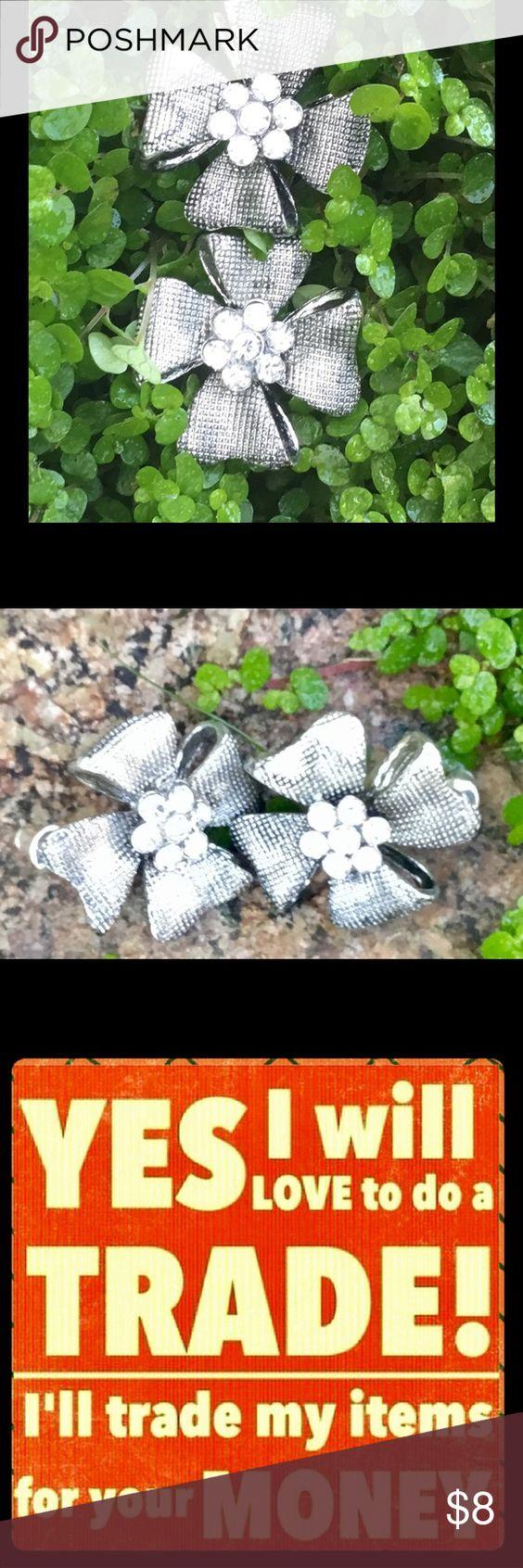 Silver Flower Earrings With Rhinestones Silver Costume Earrings Jewelry  Earrings