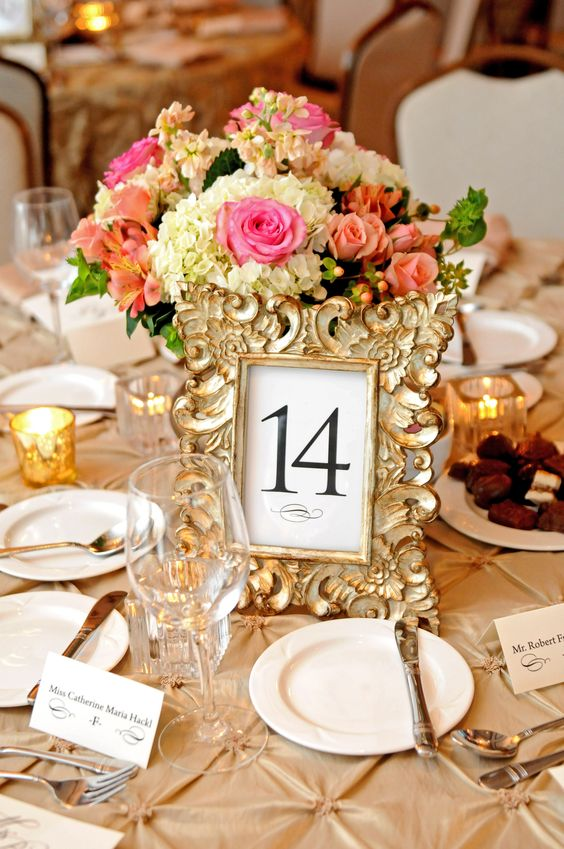 Elegant gold table numbers- Kim King Smith Events-Indianapolis, IN Wedding & Events