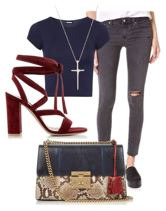 """Casual chic"" by vicfta on Polyvore featuring moda, AG Adriano Goldschmied, Gucci, WearAll, Tiffany & Co. y Gianvito Rossi"