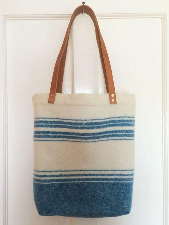 Recycled Blanket Tote Bag (Irish wool, leather)