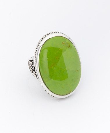 Another great find on #zulily! Lime Turquoise Oval Sterling Silver Ring by Barse #zulilyfinds