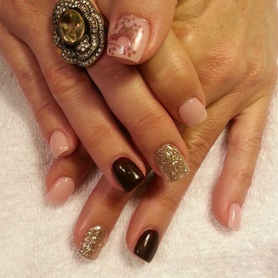 Burgundy and seashell pink gel polish, gold glitter and ...