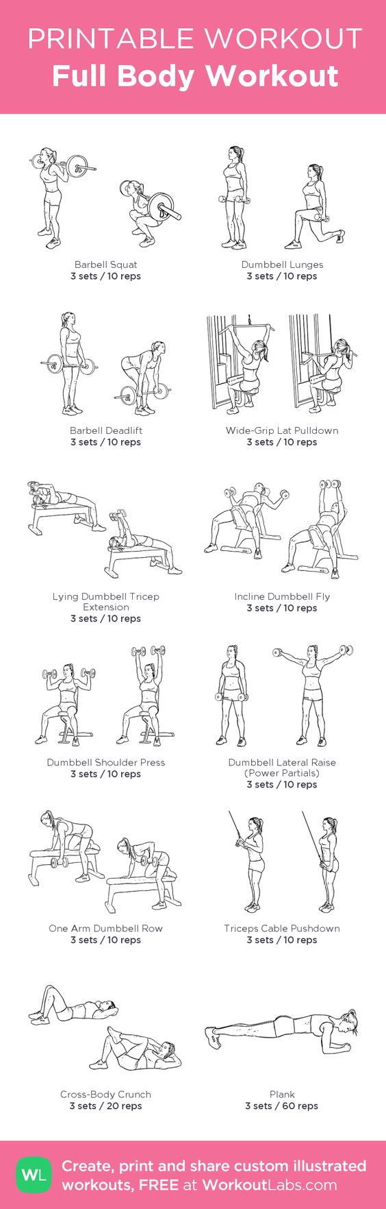 Full Body Workout:my custom printable workout by @WorkoutLabs #workoutlabs #customworkout