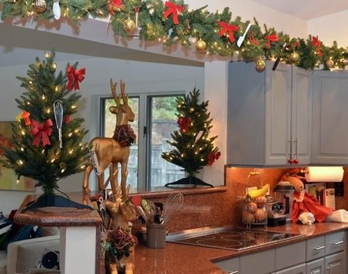 Top Of Kitchen Cabinet Christmas Decorating Ideas Above Kitchen Cabinets Christmas Kitchen Kitchen Cabinets Decor