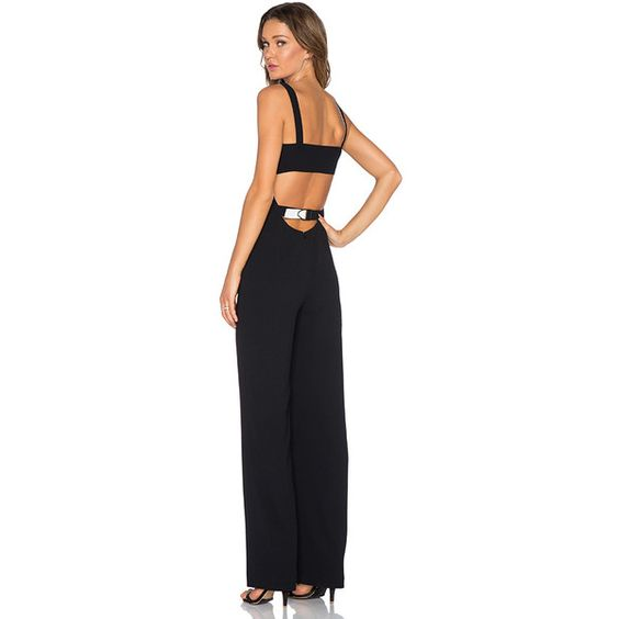 T by Alexander Wang Cutout Bandeau Jumpsuit Jumpsuits ($396) ❤ liked on Polyvore featuring jumpsuits, rompers & jumpsuits, romper jumpsuit, cut out jumpsuit, playsuit jumpsuit, jump suit and playsuit romper