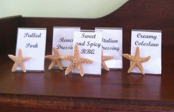 Set of Five Sugar Starfish Wedding Place Cards Buffet Labels. $15.00, via Etsy.