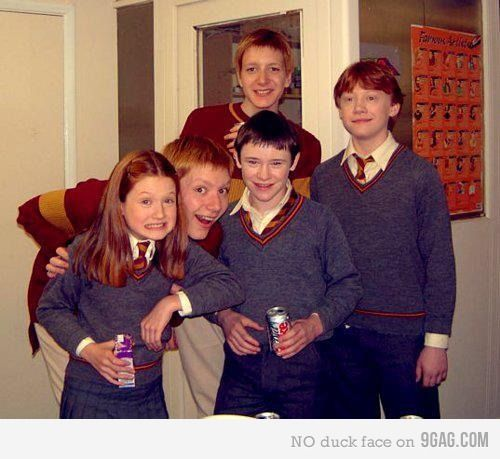 Ginny, Fred and George, Seamus, and Ron. Harry Potter.