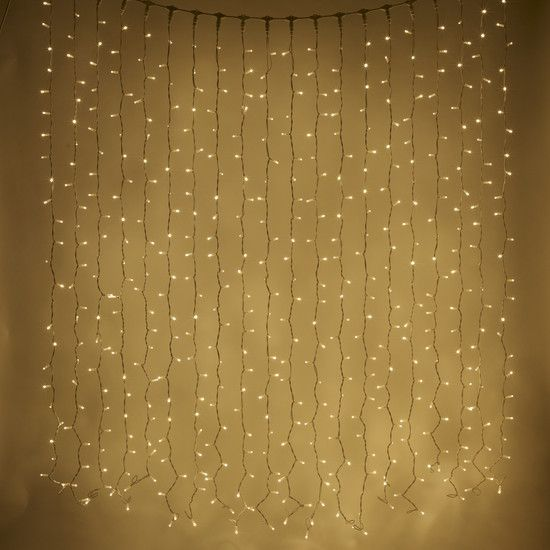 500 LED Warm White Curtain Light, 2m x 2.5m & Connectable