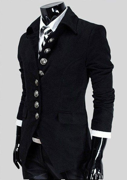 Top Designer Mens Casual Slim Military Jacket Trench Coat
