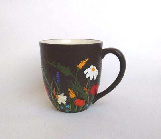 "COFFEE/TEA MUG, 12 oz Mug, Gift Idea, Birthday Gift, Gift fir Her, Gift for Mom, Mothers gift, Hand Painted Mug ""Bouquet of wildflowers"""