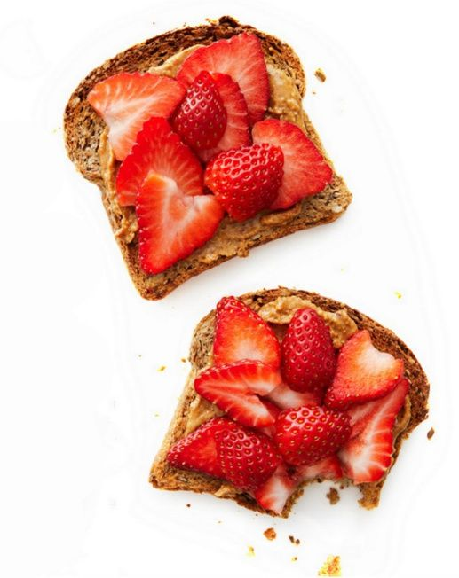 Healthy Snack: Strawberry & Peanut Butter Toast - I eat this every morning but with cinnamon raisin bread.