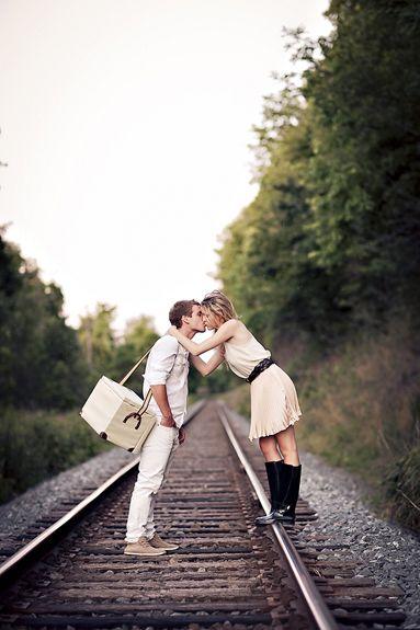 Couple photo on train tracks