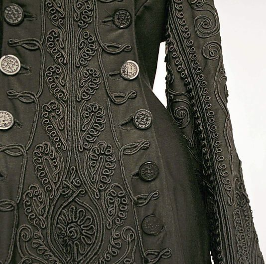 Detail View of Ensemble, American, c. 1880. Oh how I wish we still wore these lovely detailed garments (without the discomfort).