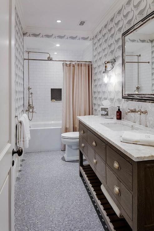 Gally Style Bathroom With A Brown Oak Washstand And Black Penny Floor Tiles Large Bathroom Remodel Bathrooms Remodel Small Bathroom Remodel