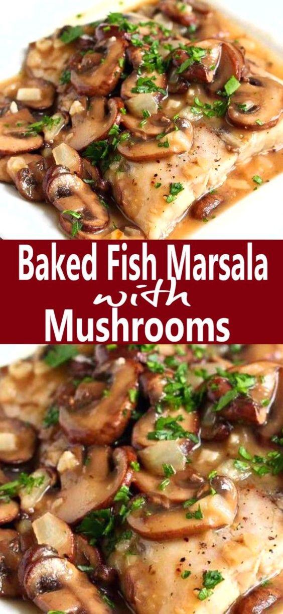 Baked Fish Marsala Recipe with Mushrooms