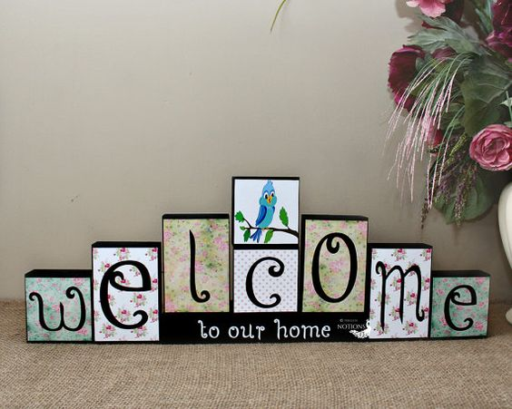 Welcome Decor Blocks - Personalized Home Decor Blocks - Seasonal Welcome Sign - Entryway Sign - Welcome To Our Home Sign - Reversible Blocks  with <3 from JDzigner www.jdzigner.com