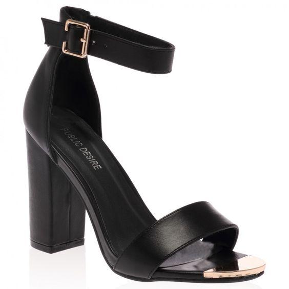 Aliya Black Block Heeled Sandal