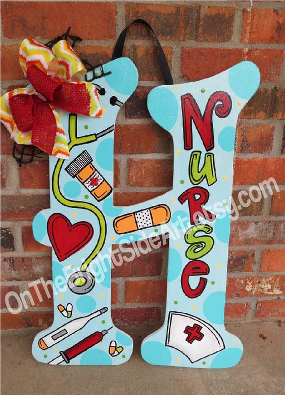Large Door Hanger Nurse Initial Letters with Bows (or without) on Etsy, $44.00