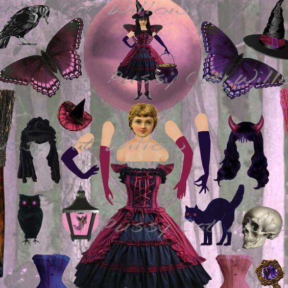 Drusilla, Mistress of the Dark Arts - paper art doll £2.20