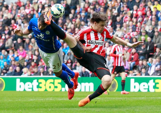 Sunderland's Sebastian Coates and Leicester's Leonardo Ulloa in action