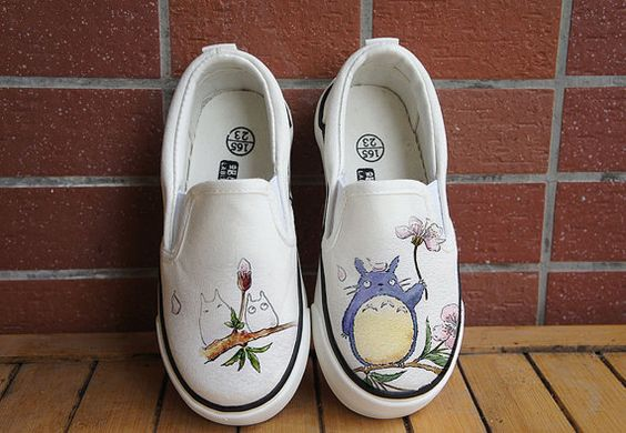 absolutely adorable --- Totoro shoes. Free shipping! Hand painted shoes. Anime Totoro shoes. customized sneakers. Totoro kids. Totoro vans. Totoro slippers
